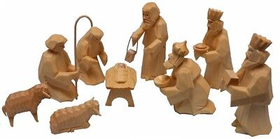 Hand Carved German Wood Christmas Nativity 9 Piece Set Handcrafted in Germany