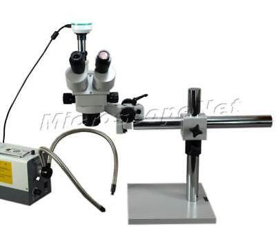 3.5X-90X Stereo Zoom Boom Stand Trinocular Microscope+Fiber Light+2MP Camera