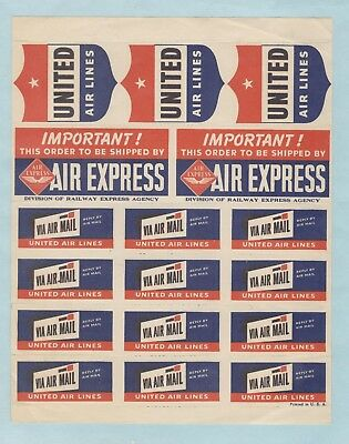 Vintage United Airlines Air Express, Via Air Mail Poster Stamps, Full Sheet