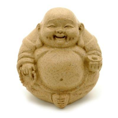 "HAPPY BUDDHA STATUE 3"" Fat Laughing Hotei Sandstone Finish Resin Feng Shui NEW"