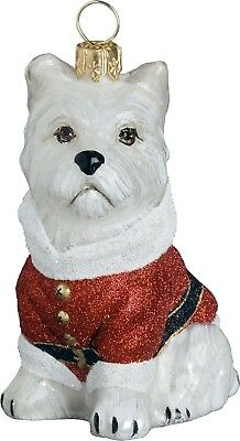 West Highland Terrier Westie Santa Paws Dog Polish Glass Christmas Ornament New