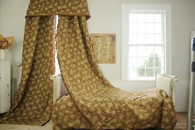 Curtains 4 piece SET Antique Bedroom bed cover + valance 1900 floral old