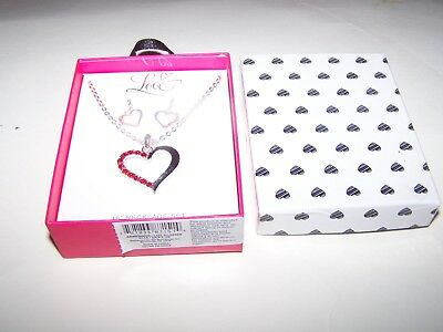 Heart necklace and matching wire earrings silvertone and red stones set in box