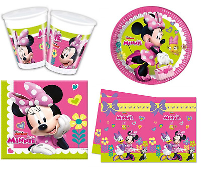 Disney Junior Minnie Mouse Clubhouse Party Set - Cups Plates Napkins Tablecloth