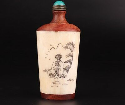 Old Cattle Bone Hand Carving Painting Ancient Beauty Embellishment Snuff Bottle