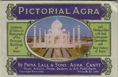 Pictorial Agra Priya Lall & Sons History 12 Coloured Photographs Book
