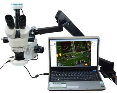 Digital Articulating Arm Stereo 3.5X-90X Microscope+LED Ring Light+2MP Camera