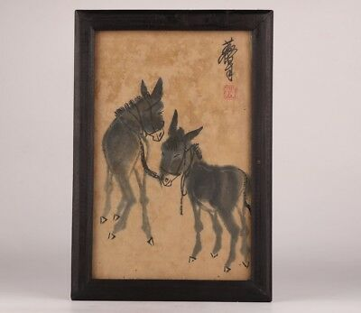 Chinese Old Handmade Rare Handmade Painting Donkey Statue Decorative Painting