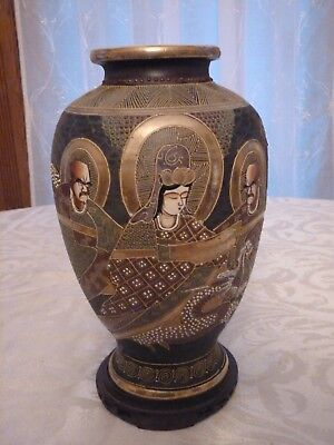 "Antique 12"" Japanese Satsuma Pottery Vase Hand Painted Gold Decoration"