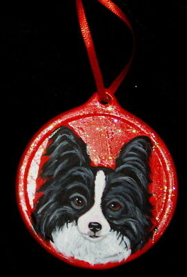 Black and White Papillon dog Hand Painted Ceramic Christmas Ornament