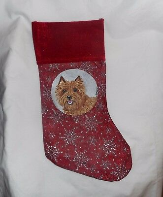 Wheaten Cairn Terrier Hand Painted Christmas Stocking