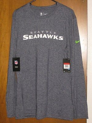 Hot MENS LLARGE NIKE nfl seattle seahawks long sleeve henley shirttop  for cheap