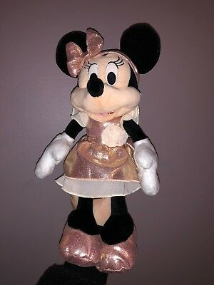 "Disney Parks Official Merchandise Rose Gold Minnie Mouse 13"" Plush Doll NEW"