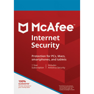 McAfee Internet Security 2019 3 Devices 1 Year Key for Windows, Mac, Android iOS