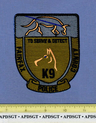 FAIRFAX COUNTY K-9 SEARCH & DETECT VIRGINIA Sheriff Police Patch K9 DOG ON LEASH