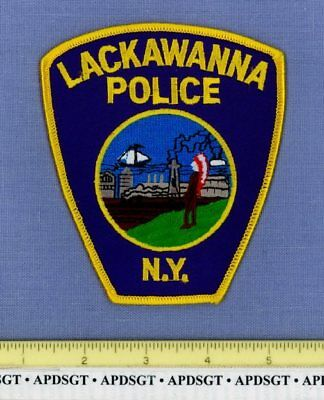 LACKAWANNA NEW YORK Police Patch INDIAN OLD STEAM RAILROAD TRAIN SAILBOAT