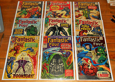 9x FANTASTIC FOUR no.57-65 lot Marvel 1966 JACK KIRBY SILVER SURFER 1st RONAN