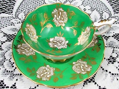 Royal Stafford Emerald Green Gold Gilt Roses Tea Cup And Saucer Teacup