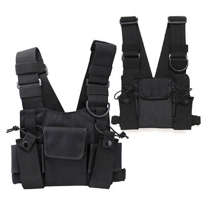 Pouch Chest Harness Bag Vest Rig Radio Black Universal Adjustable Strap Outdoor