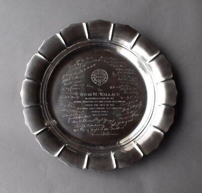 """15"""" Reed & Barton Sterling Silver Tray - WWI 315th Infantry Machine Gun Co 1093g"""