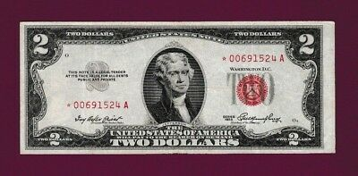 Fr.1509  $2  1953  STAR  LEGAL TENDER RED SEAL UNITED STATES NOTE # * 00691524 A