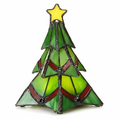 Tiffany-Style Stained Glass Wireless LED Holiday Accent Lamp Timer Tree K411504