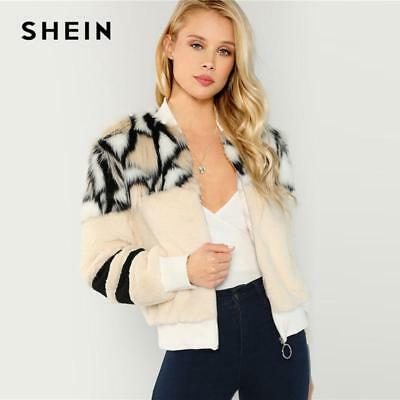 af757504a0 SHEIN Multicolor O-Ring Zip Up Faux Fur Coat Casual Stand Collar Long  Sleeve Hig