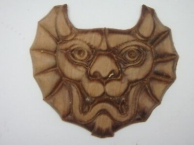 "1 Dark Wood MEDALLION Decoration  2.46"" Long, 2.64"" Wide"