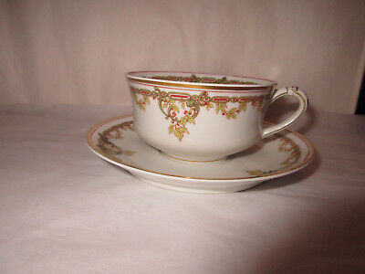 Antique Haviland Limoges Holly Berries Cup&Saucer Made For PD&G Co Indianapolis