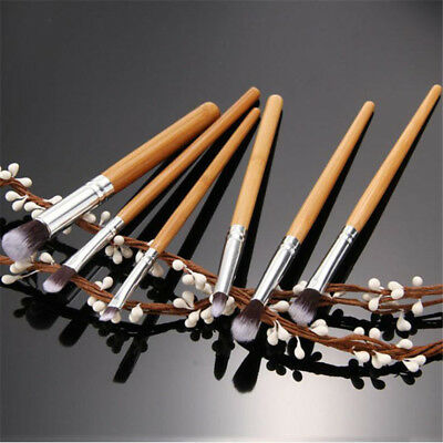 6Pcs Bamboo Handle Eye Brush Makeup Flat Brushes Cosmetics Makeup Brush LG