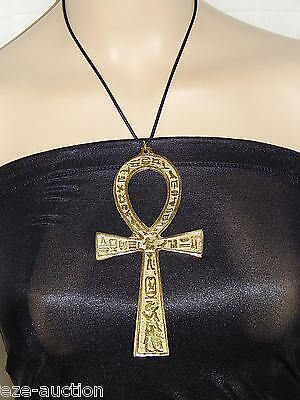 "Huge 6"" Ankh Key Of Life Double Face Brass Metal Pendant Necklace"