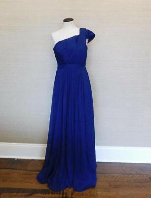 J Crew 298 Silk Chiffon Cara Long Dress 2 Dark Cove Blue Gown C9252
