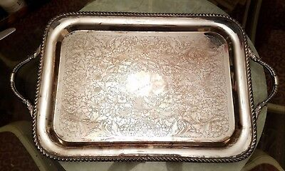 "**Antique Vintage LARGE ELEGANT SILVER PLATED SERVING TRAY 13"" x 22"" Rectangular"