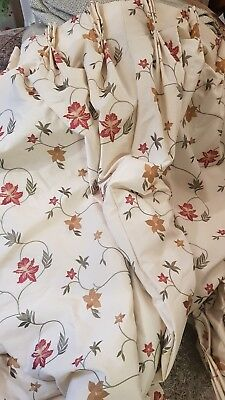 Pr Of Silk Embroided Lined Curtains, Pinch Pleat 50wx84d