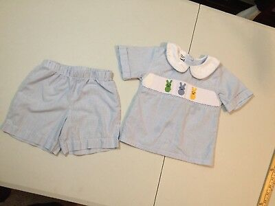 Doodle boys outfit 2T blue white smocked stiched embroidered shorts shirt cute