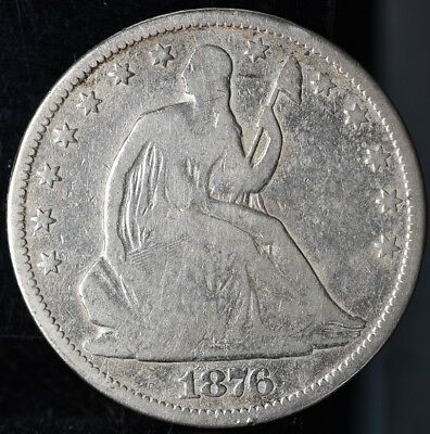 1876-CC Seated Liberty Silver Half Dollar 50c