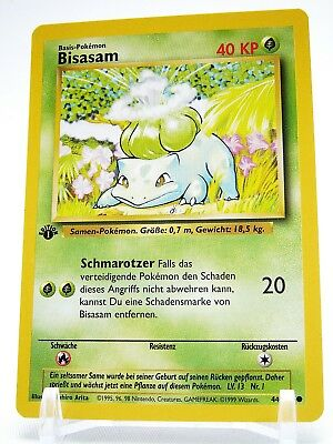 Pokemon Karte Bisasam 1. Edition aus Basis Base Set 40 KP 44/102