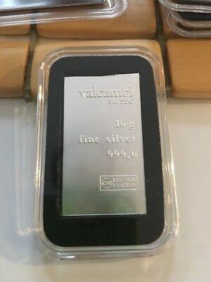 Valcambi Suisse 10 Gram Bar .999 Fine Silver New - Comes In An Air-Tite Case