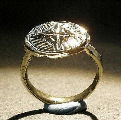 BEAUTIFUL GENUINE MEDIEVAL BRONZE RING - haloed cross -wearable