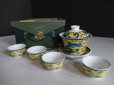 DRAGON authentic MINIATURE  6 oz. Japanese TEA set Blue Yellow Red  NIB