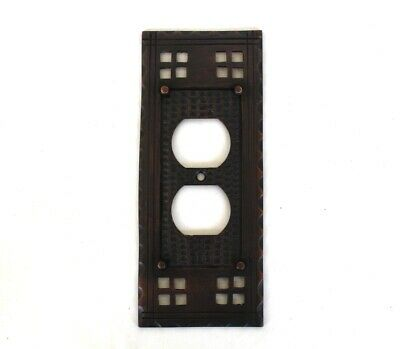 Arts and Crafts Duplex Outlet Switch Plate Mission Oil Rubbed Bronze Brass