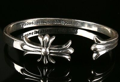 Rare Unique 925 Silver Hand-Carved Cross Statue Bracelet Jewelry Christmas Gift