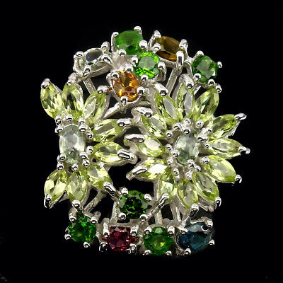 Exquisite Marquise 5x3mm Peridot Chrome Diopside Tourmaline 925 Silver Ring 8.5