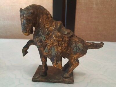 Vintage Cast Iron Tang War Horse Statue/  Figurine/ Paper Weight-  Bronze Patina
