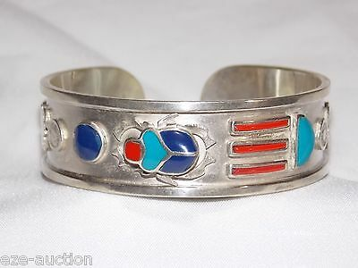 Egyptian Solid Sterling Stamped Silver Bracelet Cuff with Precious Gems Scarab