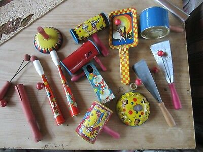 Lot of Vintage Tin Litho Noisemakers Kirchhof, US Metal Toy, TC,  New Years Eve