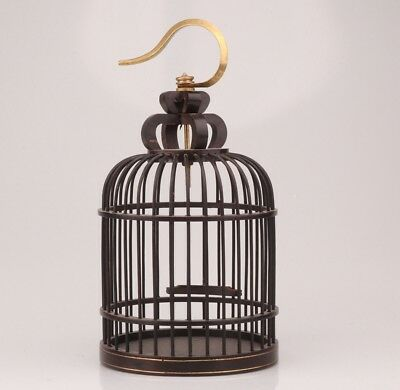 Vintage Chinese Black Wood Bird Cage Decorated Canary Pet Supply Collection