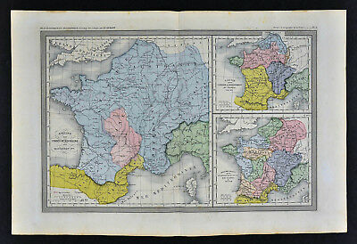 1862 Ansart Map - France Merovingian Dagobert & Clovis - Gaule Barbarian Paris