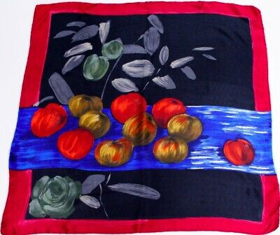 50's brushstroke 'Fruits still life' silk scarf