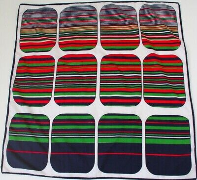 Vintage polyester scarf - 1970s graphic squares print  - Navy blue, green, red